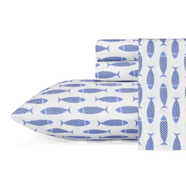 Woodblock Fish 200 Thread Count 100% Cotton Sheet Set by Nautica